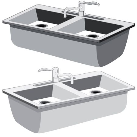 An image of a kitchen sink. Vector