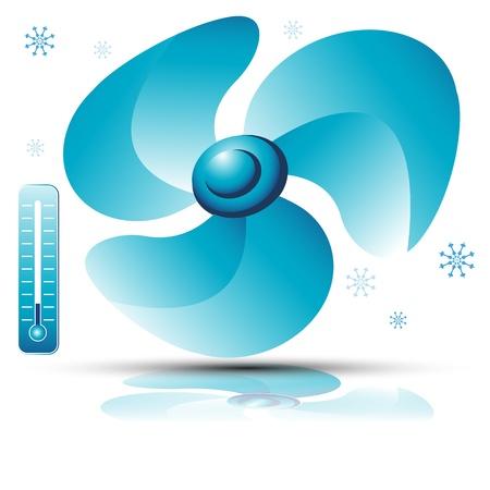 Een afbeelding van een ventilator. Stock Illustratie