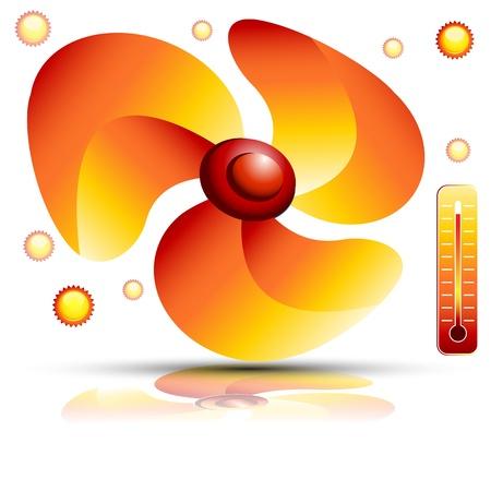 red fan: An image of a Heating fan. Illustration