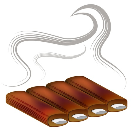 ribs: An image of barbecue spare ribs. Illustration
