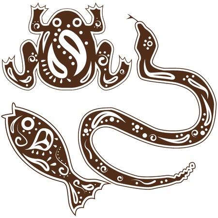 Een beeld van tribale slang, vis, kikker dierlijk art.