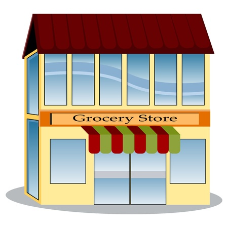An image of a grocery store. Vector