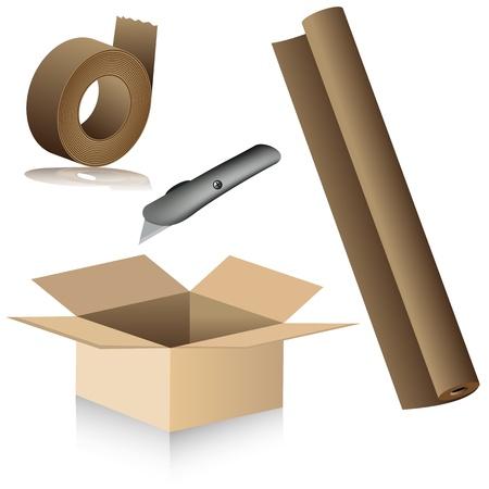 재배치 포장 용품의 이미지.
