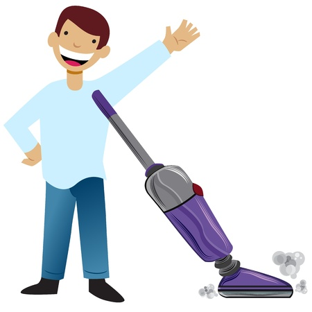 An image of a kid vacuuming. Ilustrace