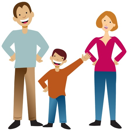 guy standing: An image of a family. Illustration