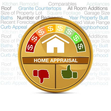 refinancing: An image of a home appraisal meter. Illustration