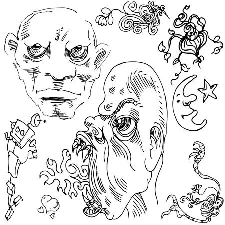 wierd: An image of a doodle drawing set.