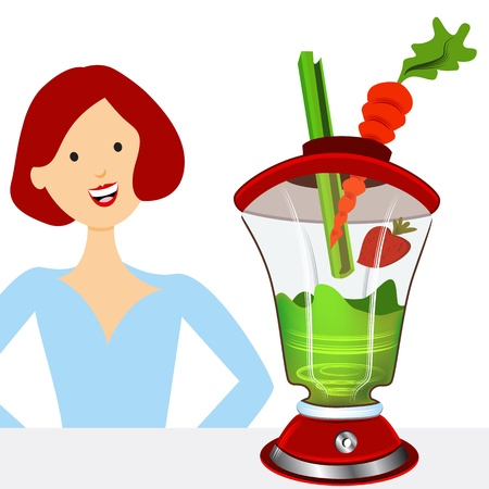 An image of a woman making a healthy smoothie.