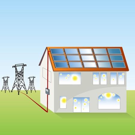 Een afbeelding van een zonnepaneel systeem. Stock Illustratie