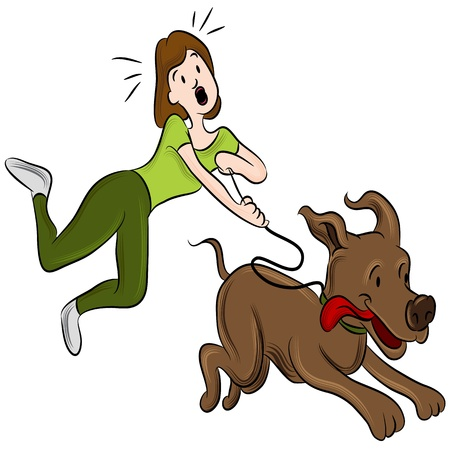 An image of a woman trying to walk her dog.