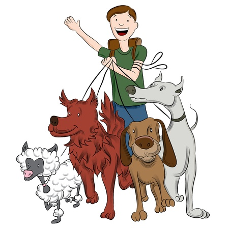 An image of a man walking dogs. Vector