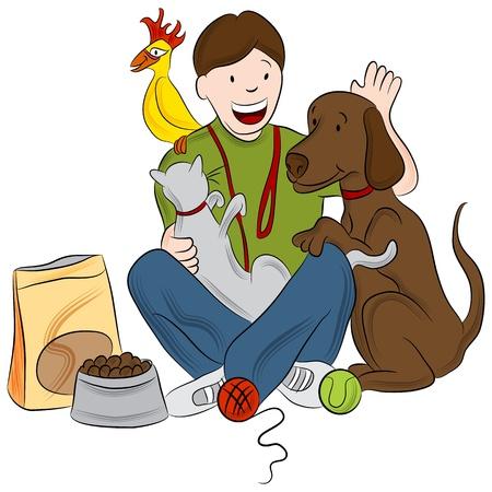 lap dog: L'immagine di un pet sitter a giocare con un gatto, uccello e il cane.