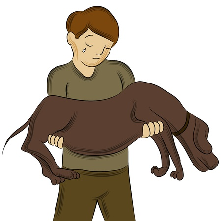 An image of a man carrying injured dog.