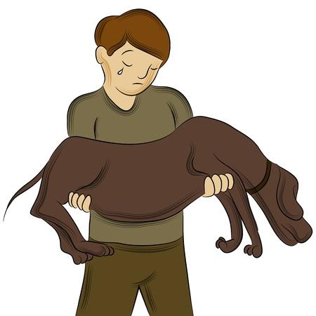 Een beeld van een man die gewonde hond.