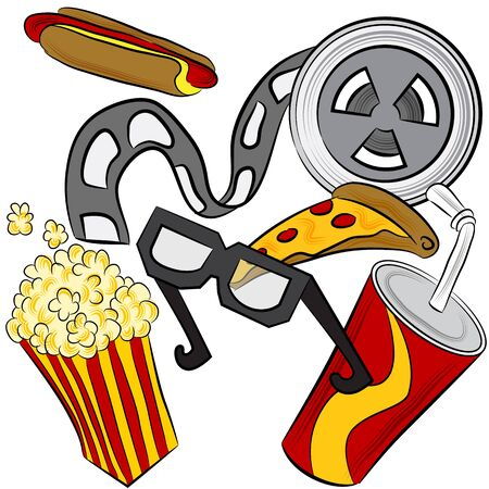 An image of a film reel, 3d glasses and movie theater food. Vector