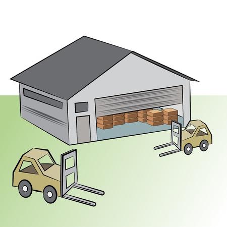 Une image d'un bâtiment de stockage avec des véhicules de levage caisse.