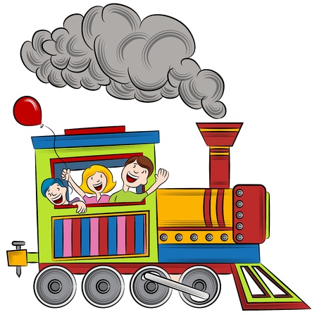 steam locomotive: An image of a children riding on a train. Illustration