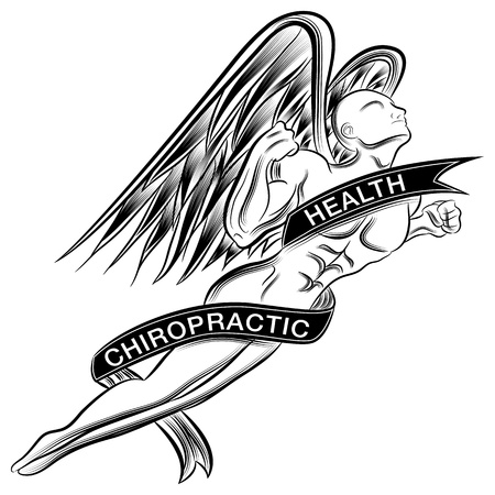 scratchboard: An image of a superhero styled chiropractic angel. Illustration