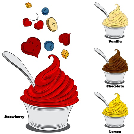 An image of a frozen yogurt with toppings. Illustration