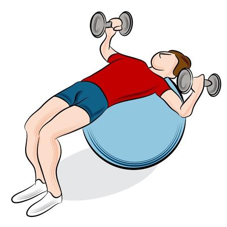 fitness ball: Una imagen de un hombre que ejercita con una bola de fitness y pesas.