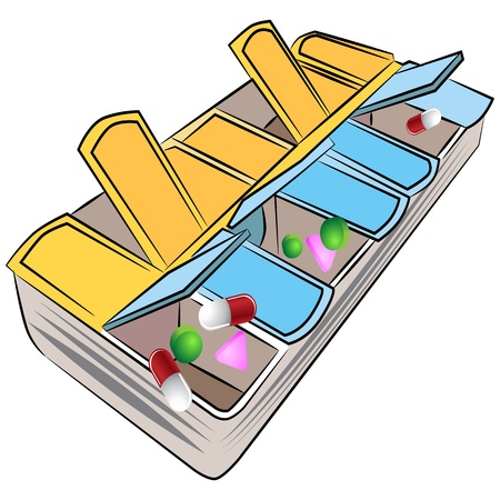 An image of a weekly pill organizer. Stock Vector - 17444220