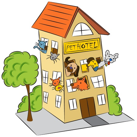 Een afbeelding van een kat en een hond dierenhotel.