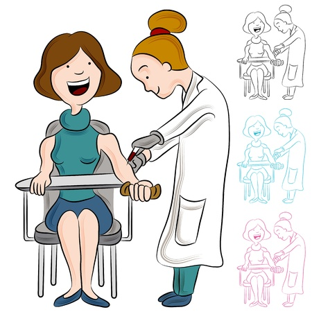 phlebotomist: An image of a woman taking a blood test. Illustration