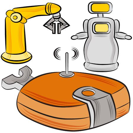 wireless signal: An image of a set of manufacturing robots. Illustration