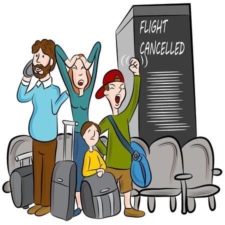 An image of passengers angry about a cancelled flight. Illustration