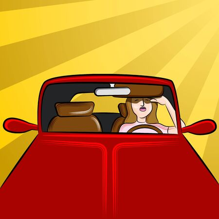 female driver: An image of a woman driver exeriencing sunglare.