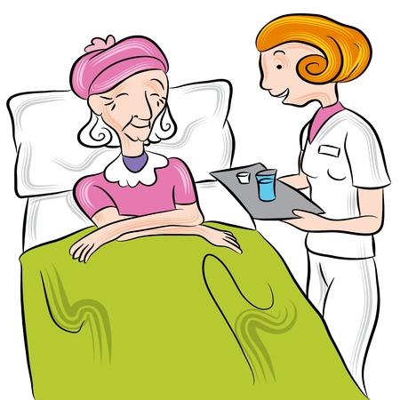 Ein Bild von einer Krankenschwester, die Medikamente zu einem Senior in einem Pflegeheim. Vektorgrafik