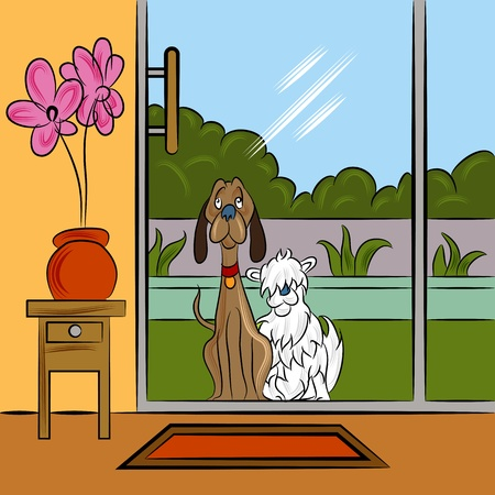 An image of two dogs begging at the backdoor. Stock Vector - 17627103