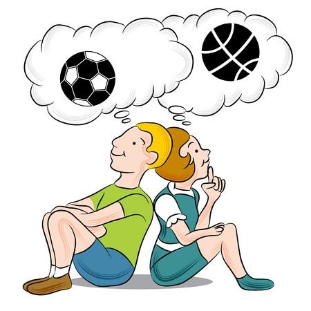 niños pensando: Una imagen de los niños a pensar en los deportes. Vectores