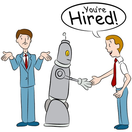hired: An image of a man losing a job to a robot.