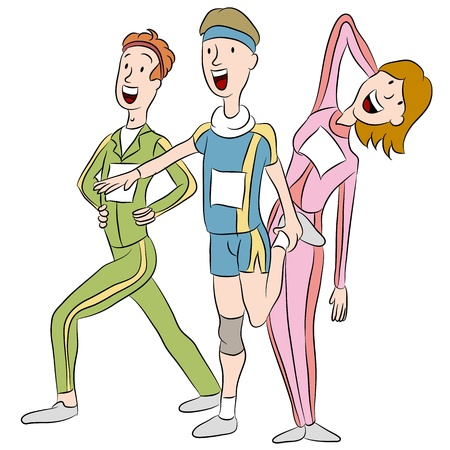 An image of a runners warming up stretching for a race. Vector