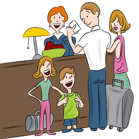 check in: An image of a family checking into a hotel.