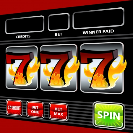 An image of a flaming lucky seven slot machine. Ilustrace