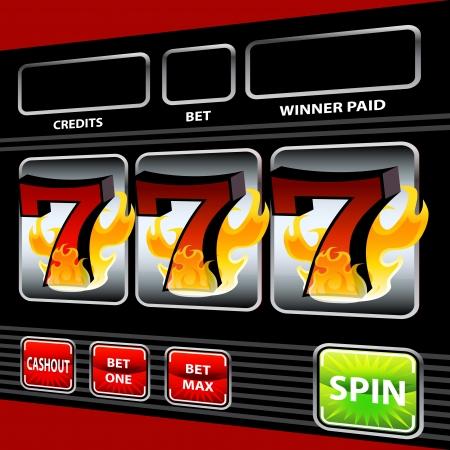 An image of a flaming lucky seven slot machine. Illusztráció