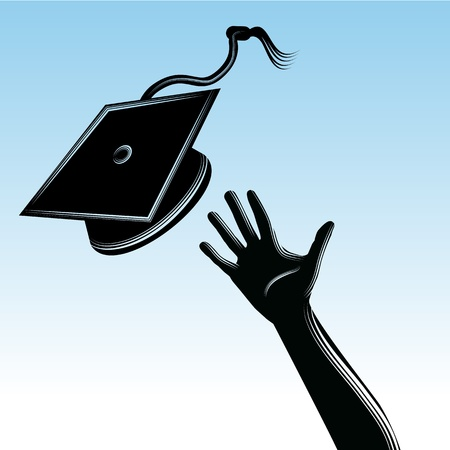 tossing: An image of a hand tossing a graduation cap.
