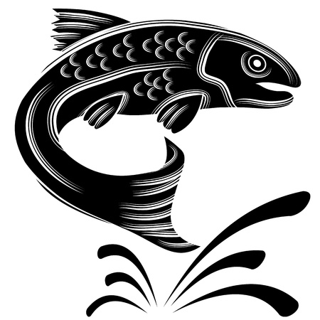 An image of a trout fish jumping out of the water. Illustration