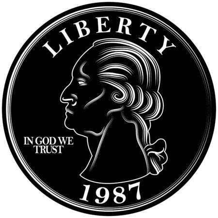 quarters: An image of a twenty five cent quarter. Illustration