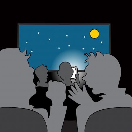 映画館で失礼な携帯電話ユーザーのイメージ。