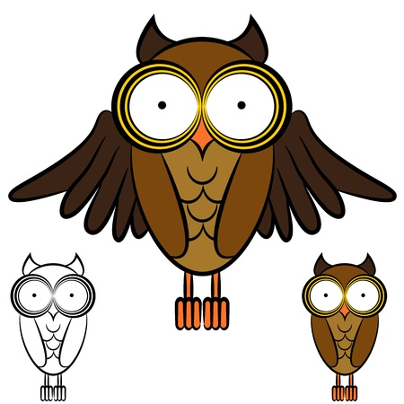 An image of a set of owls. Vector