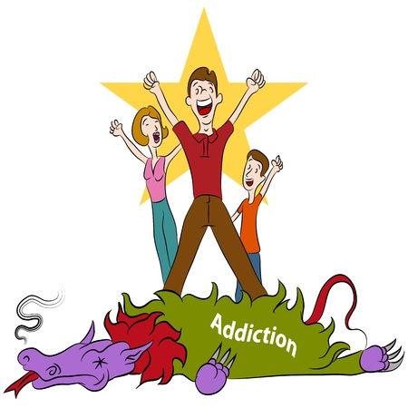 An image of a family conquering addiction. Illustration