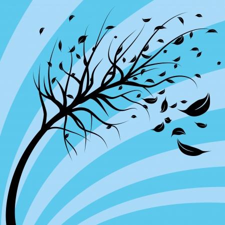 Een afbeelding van een boom waait in de wind. Stock Illustratie