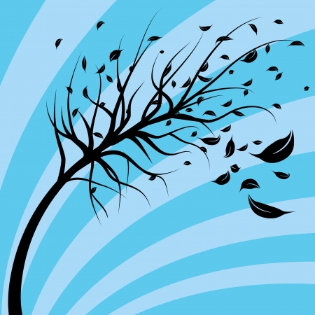 An image of a tree blowing in the wind.