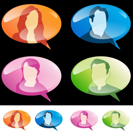 An image of a set of people speech bubbles. Stock Vector - 17779674