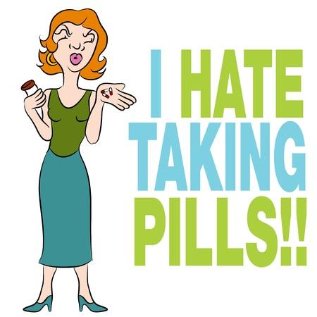An image of a woman who hates taking pills. Ilustração