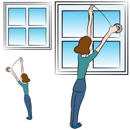 cold weather: An image of a woman putting weather proofing foam tape in a window.