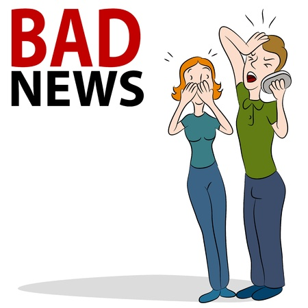 L'immagine di una coppia di ricevere cattive nuovo al telefono.